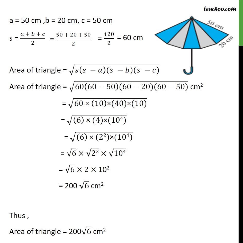 Ex 12 2, 6 - An umbrella is made by stitching 10 triangular