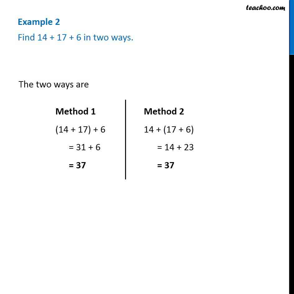 Example 2 -   Find 14 + 17 + 6 in two ways - Chapter 2 Class 6