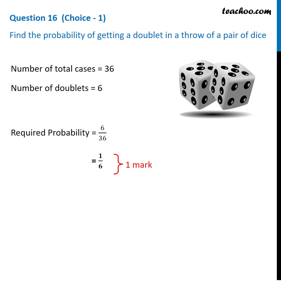 Find the probability of getting a doublet in a throw of a pair of dice