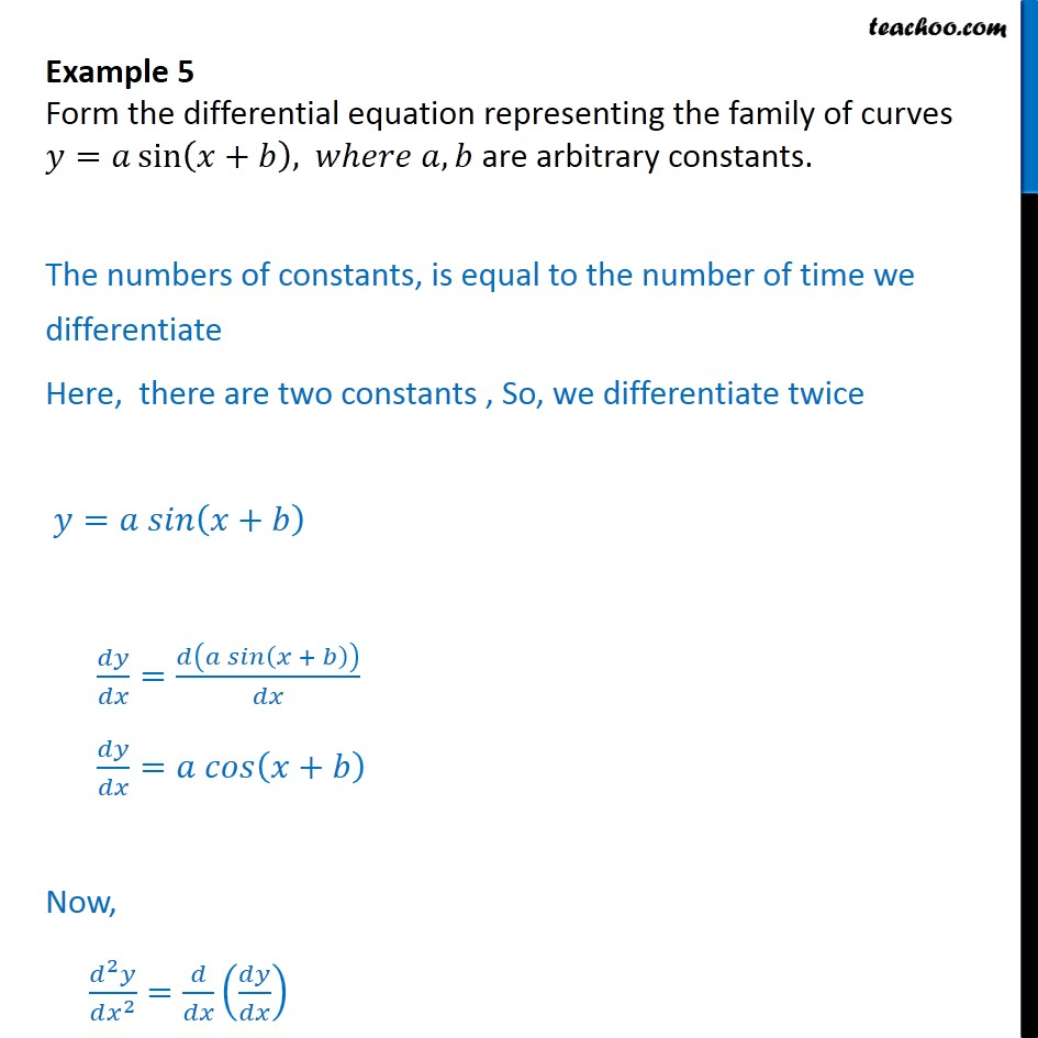 Example 5 - Form differential equation y = a sin (x + b) - Examples