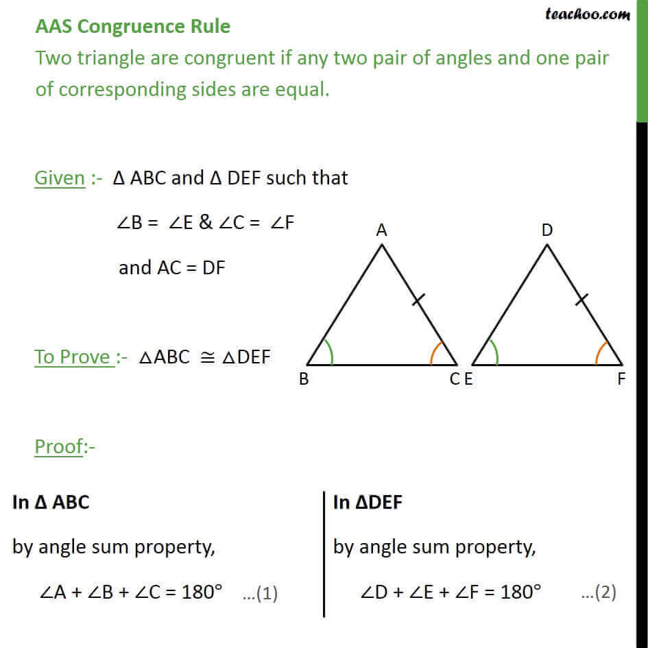 Aas Congruency Class 9 If Two Angles And Adjacent Side Are Equal