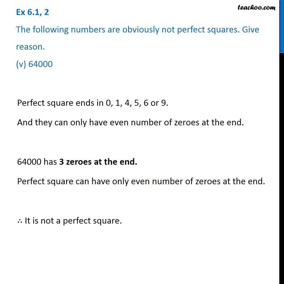 Ex 6.1, 2 - Chapter 6 Class 8 Squares and Square Roots - Part 5