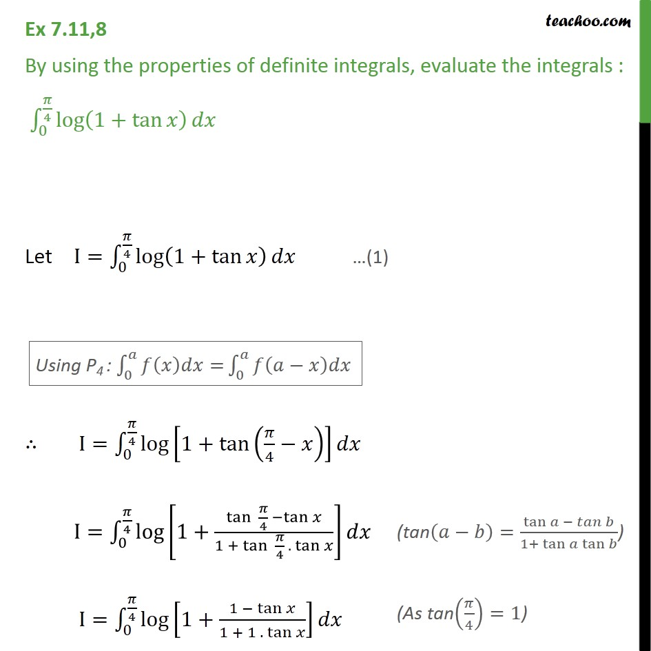 Ex 7.11, 8 - Evaluate integral log (1 + tan x) dx - Ex 7.11
