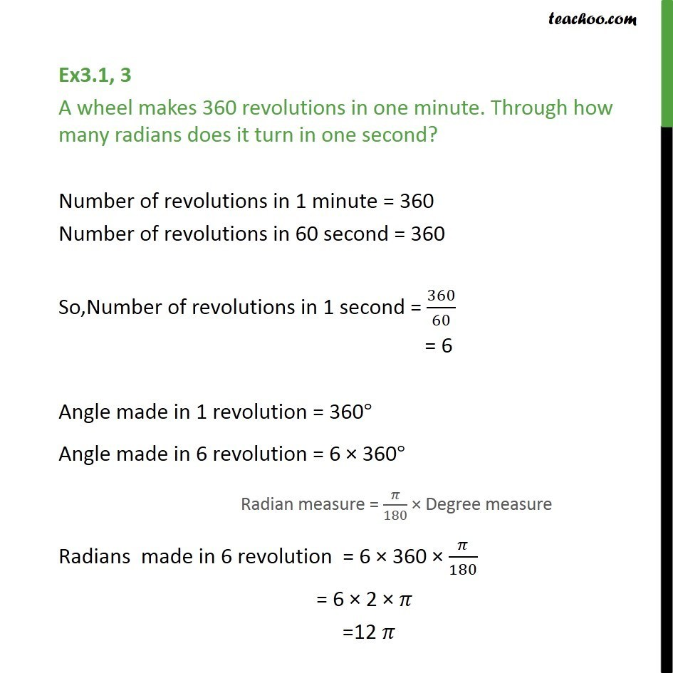 Ex 3.1, 3 - A wheel makes 360 revolutions in one minute - Ex 3.1