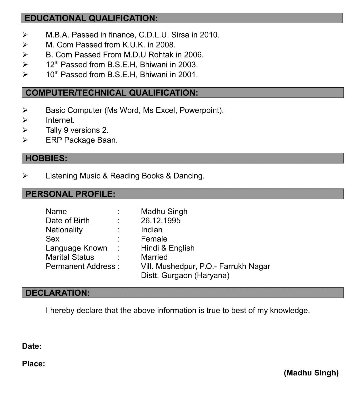 Resume Formats - Making Resume