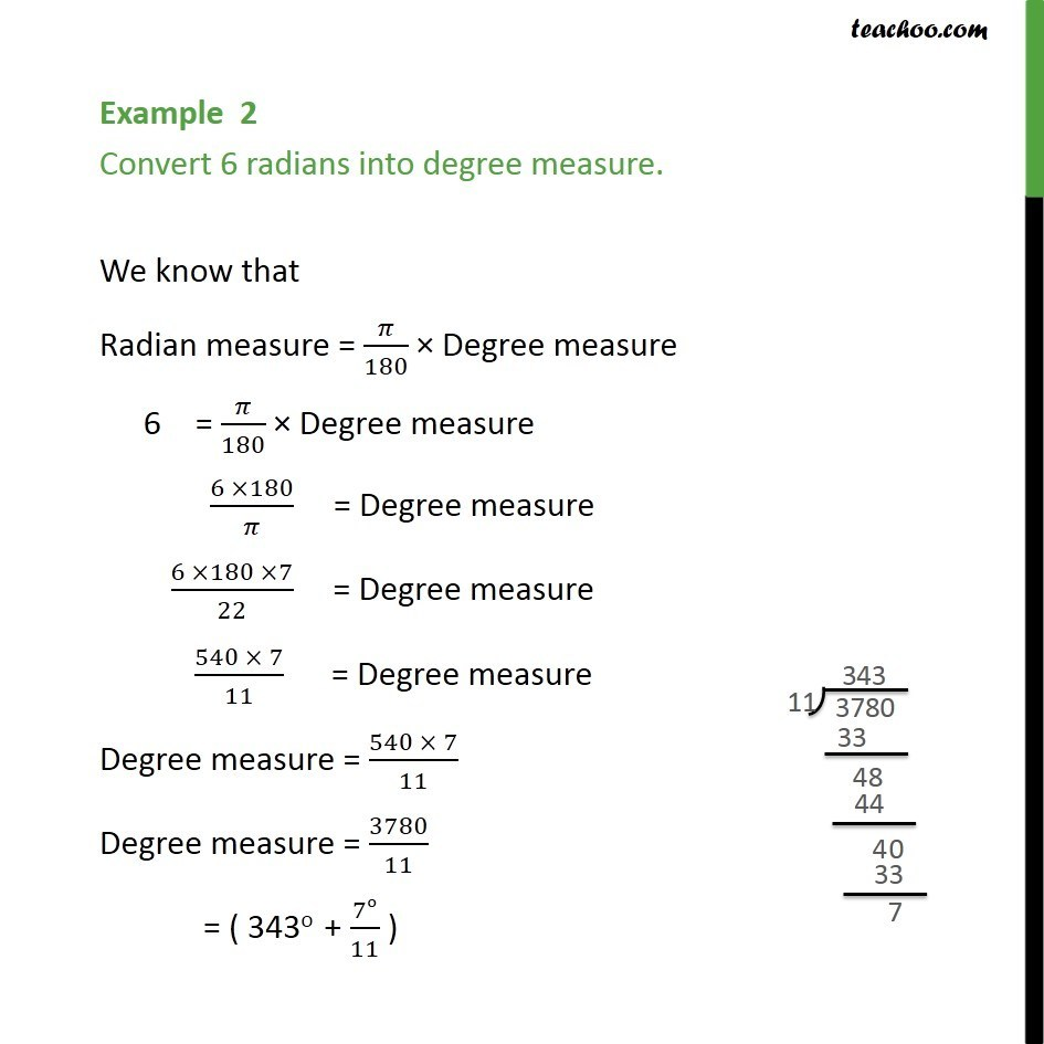 Example 2 - Convert 6 radians into degree measure - Class 11 - Radian measure - Conversion