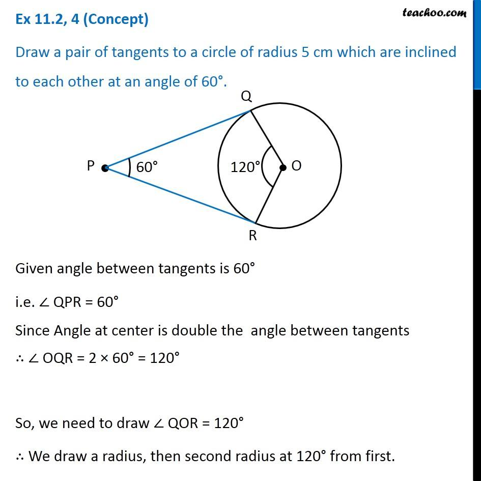 ex 11 2 4 draw pair of tangents to a circle of radius 5 cm inclined
