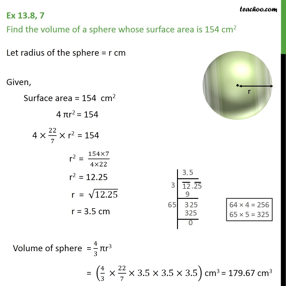 Ex 13.8, 7 - Find volume of a sphere whose surface area - Ex 13.8