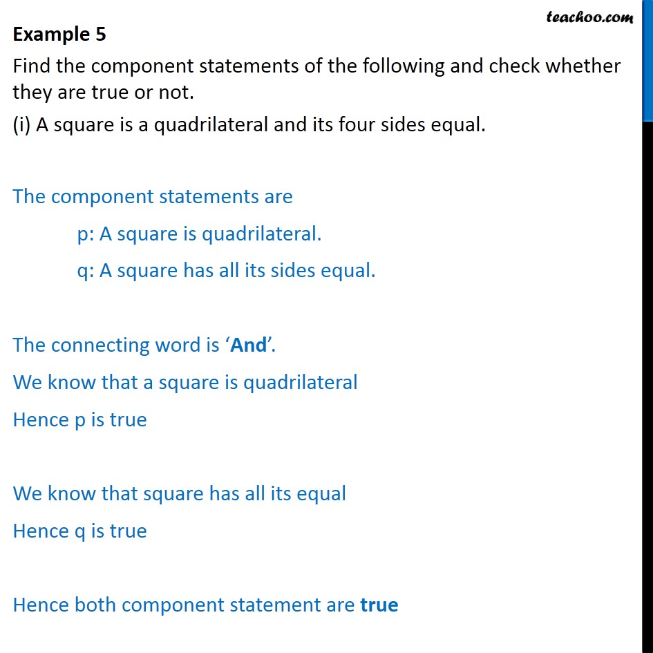 Example 5 - Find component statements and check true or not - Examples