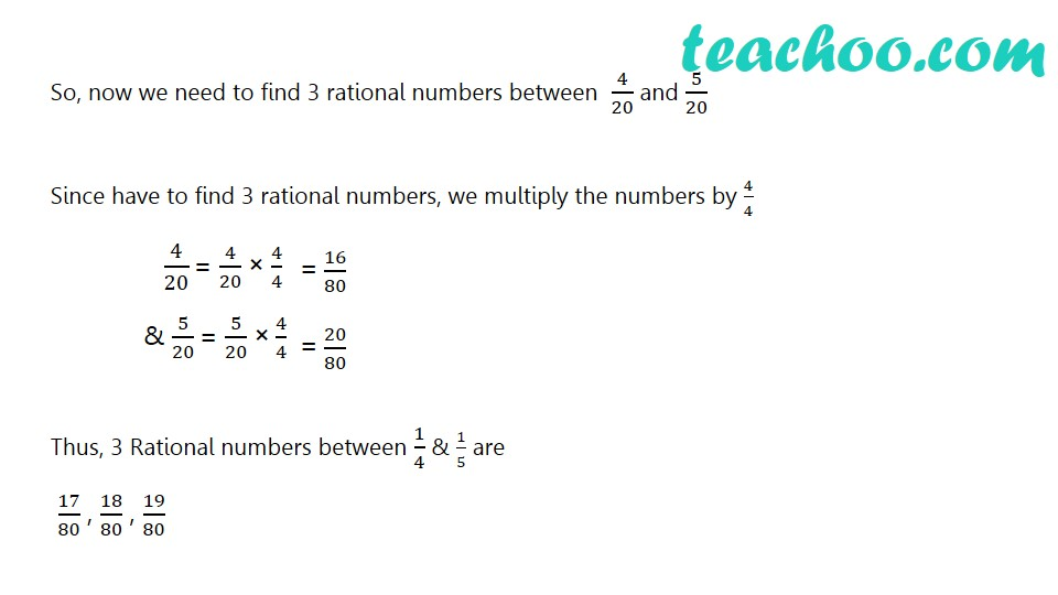 Find 3 rational numbers between 1/4 and 1/5 - Part 2