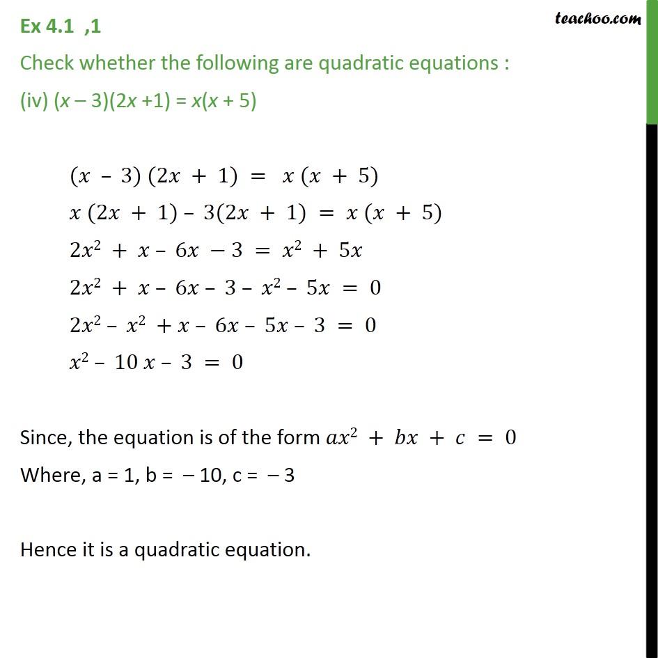 Ex 4.1, 1 - Chapter 4 Class 10 Quadratic Equations - Part 4