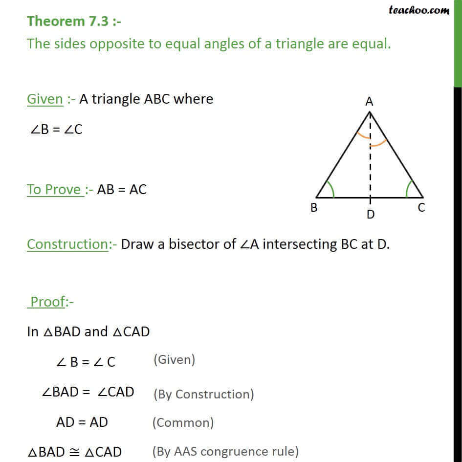 Theorem 7.3 - Sides opposite to equal angles of triangle are equal.jpg