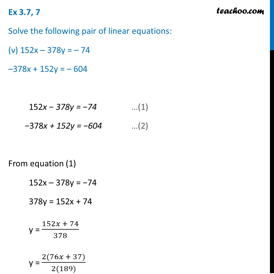 Ex 3.7, 7 (Optional) - Chapter 3 Class 10 Pair of Linear Equations in Two Variables - Part 17