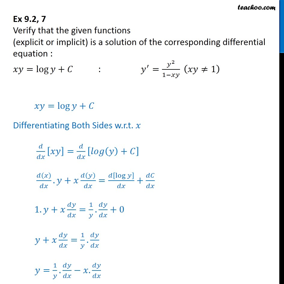 Ex 9.2, 7 - Verify solution xy = log y + C : y' = y2 / 1 - xy - Ex 9.2