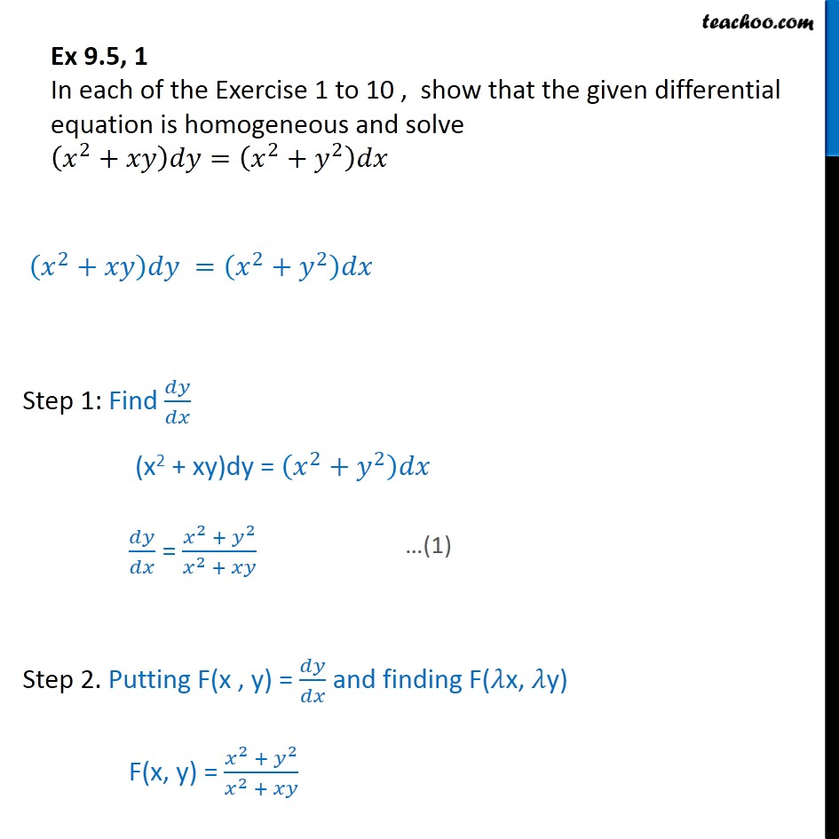 Ex 9.5, 1 - Show differential equation is homogeneous - Solving homogeneous differential equation