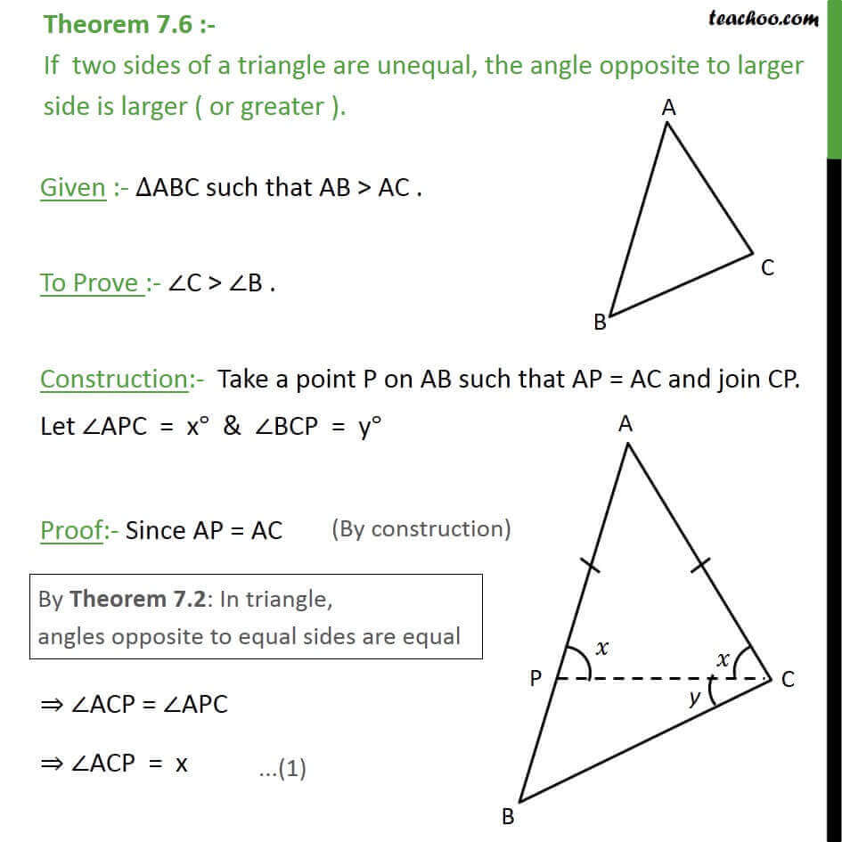 Theorem 7.6 - Class 9 - Angle opposite to larger side is larger. - Theorems