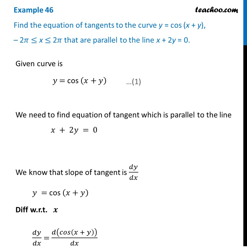 Example 46 - Find equation of tangents to y = cos (x + y)