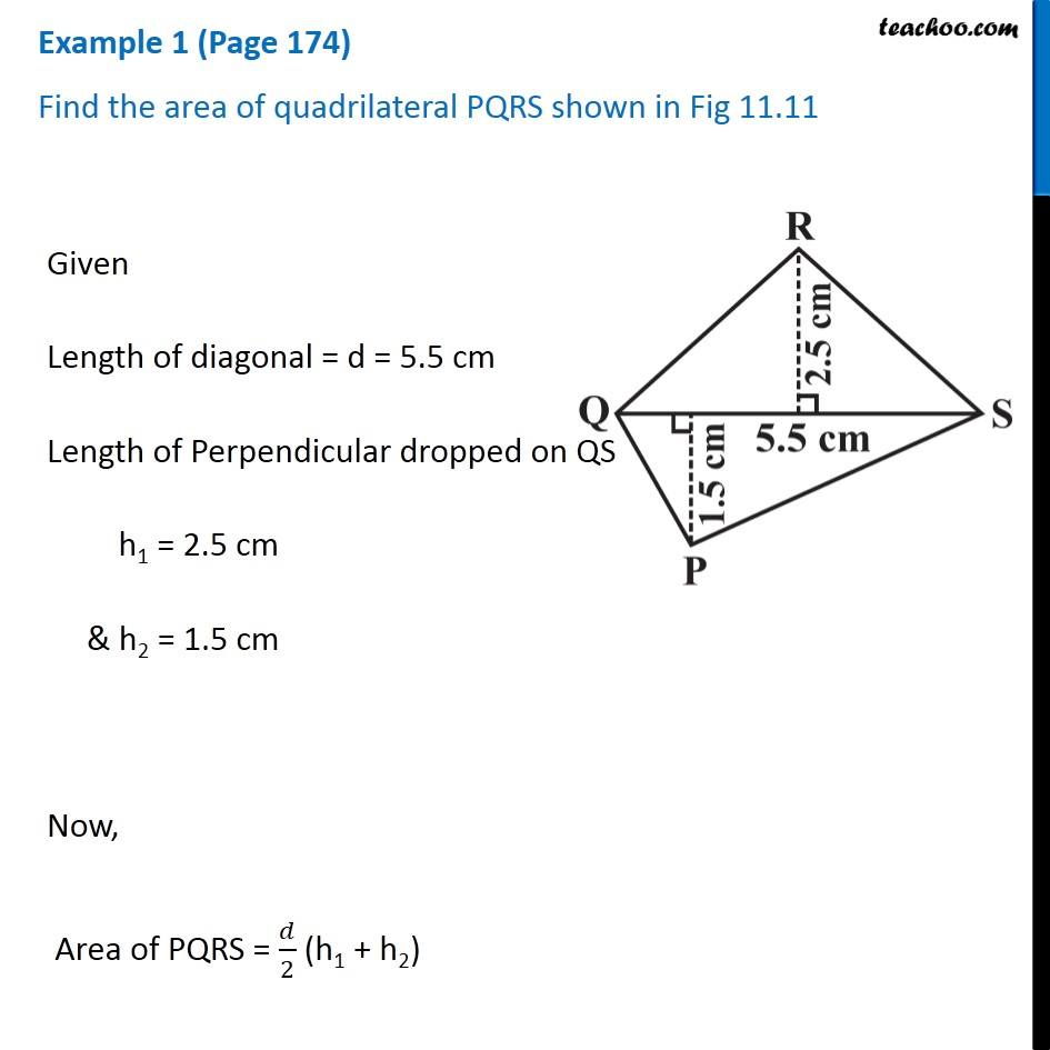 Example 1 (Page 174) - Find the area of quadrilateral PQRS shown in