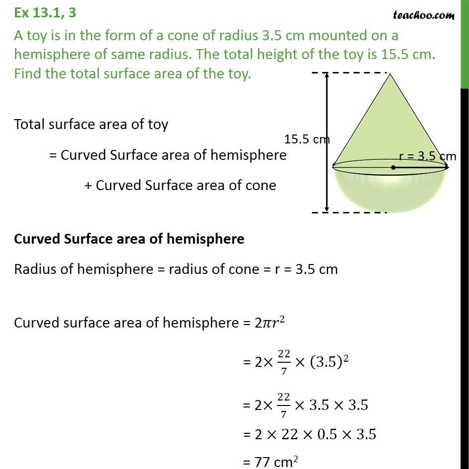 Ex 13.1, 3 - A toy is in form of a cone of radius 3.5 cm - Surface Area - Added