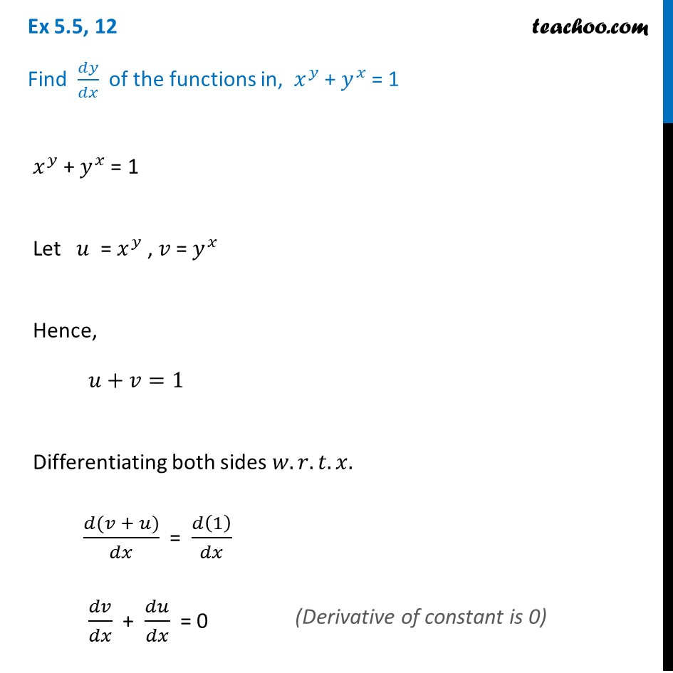 Ex 5.5, 12 - Find dy/dx, xy + yx = 1 - Class 12 CBSE NCERT