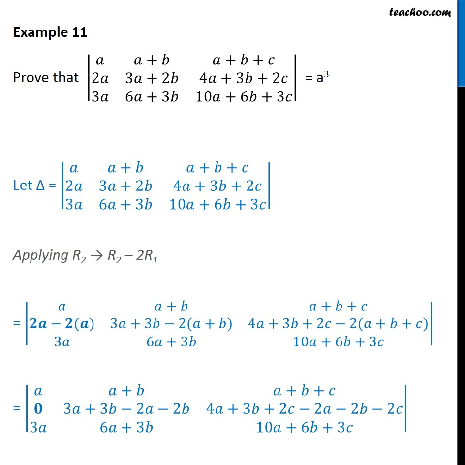 Example 11 - Prove |a a+b a+b+c 2a 3a+2b - Chapter 4 NCERT - Solving by simplifying det.