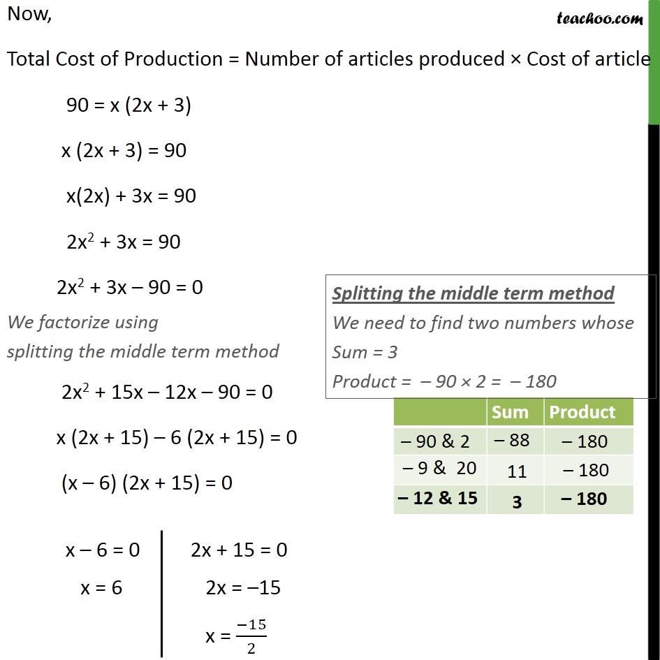 Ex 4.2, 6 - Chapter 4 Class 10 Quadratic Equations - Part 2