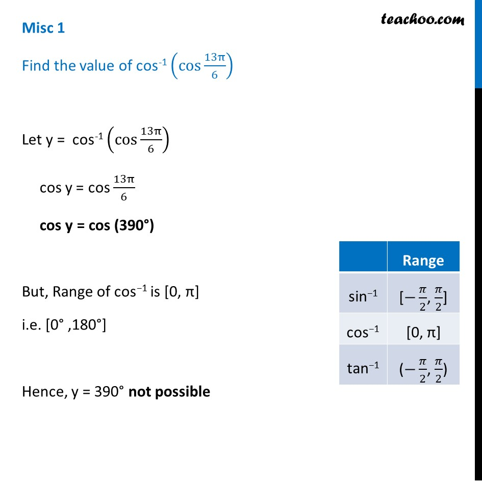 Misc 1 - Find cos-1 (cos 13pi/6) - Chapter 2 Class 12 NCERT