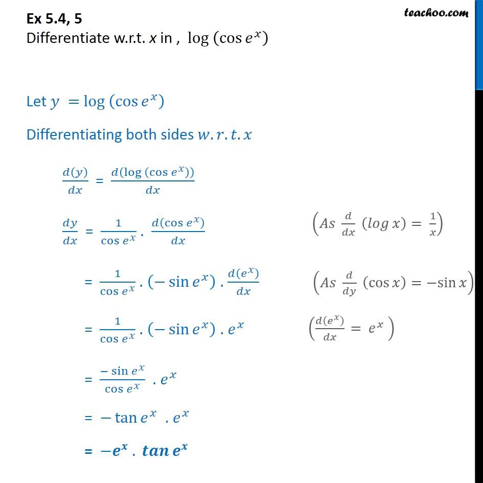 Ex 5.4, 5 - Differentiate log (cos ex) - Class 12 CBSE - Ex 5.4
