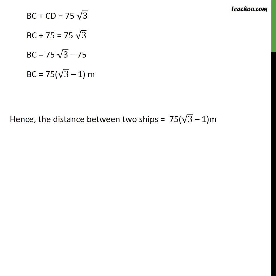 Ex 9.1, 13 - Chapter 9 Class 10 Some Applications of Trigonometry - Part 4