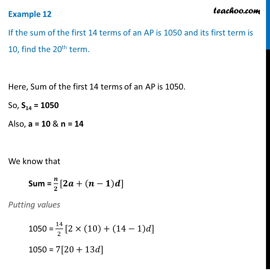 Example 12 - If sum of first 14 terms of an AP is 1050 - Examples