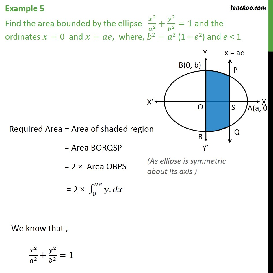Example 5 - Find area bounded by ellipse x2/a2 + y2/b2 = 1 - Area bounded by curve and horizontal or vertical line