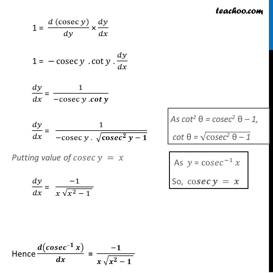 Derivative of cosec-1 x (Cosec inverse x) - Part 2
