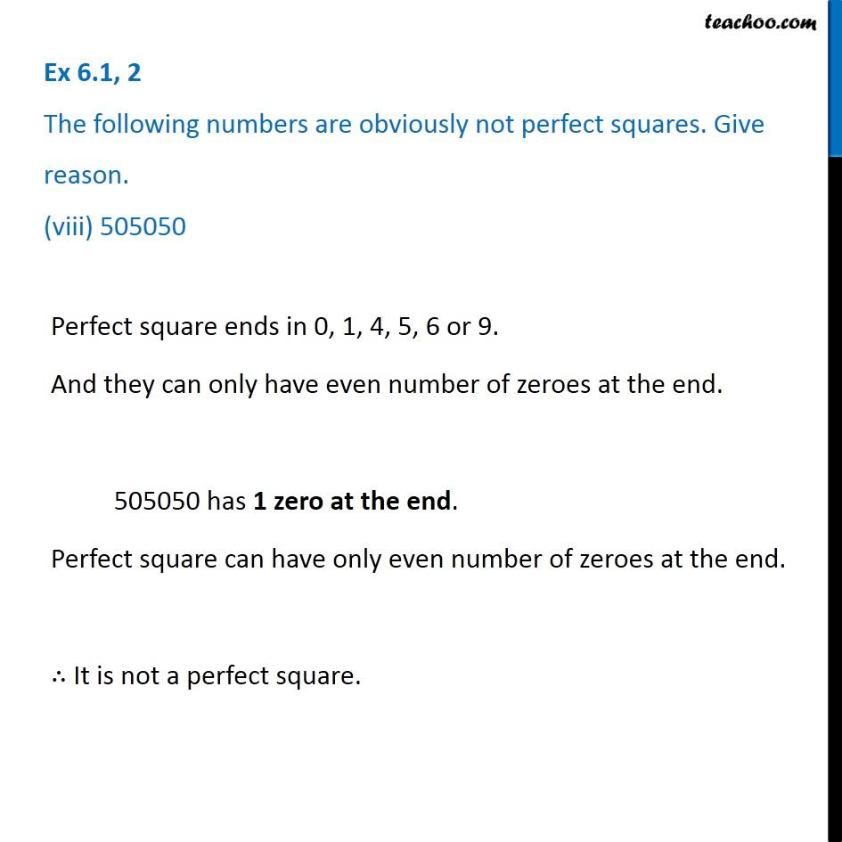Ex 6.1, 2 - Chapter 6 Class 8 Squares and Square Roots - Part 8