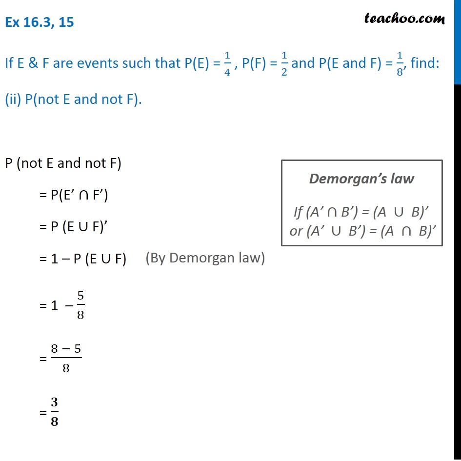 Ex 16.3, 15 - Chapter 16 Class 11 Probability - Part 3