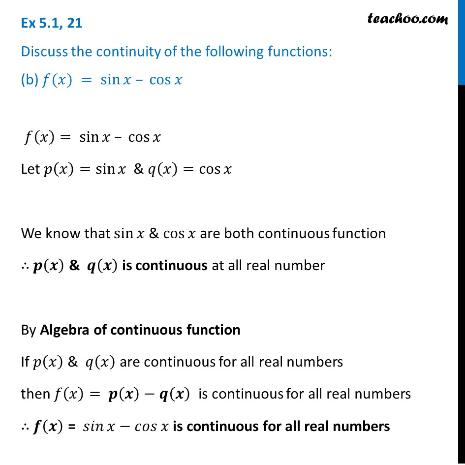 Ex 5.1, 21 - Chapter 5 Class 12 Continuity and Differentiability - Part 2