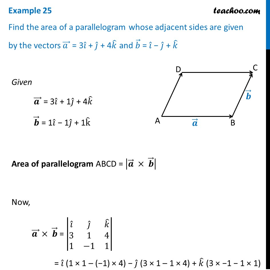 Example 25 - Find area of a parallelogram whose a = 3i + j + 4k