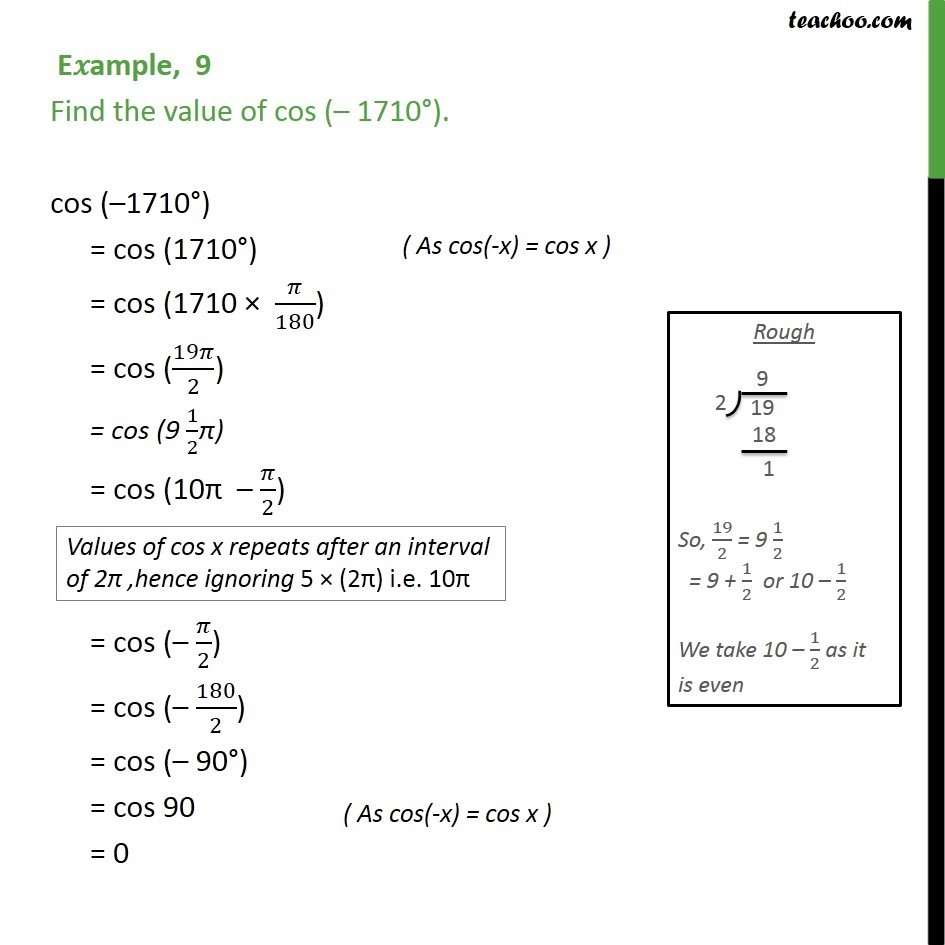 Example 9 -  Find value of cos (-1710) - Chapter 3 Class 11 - Examples