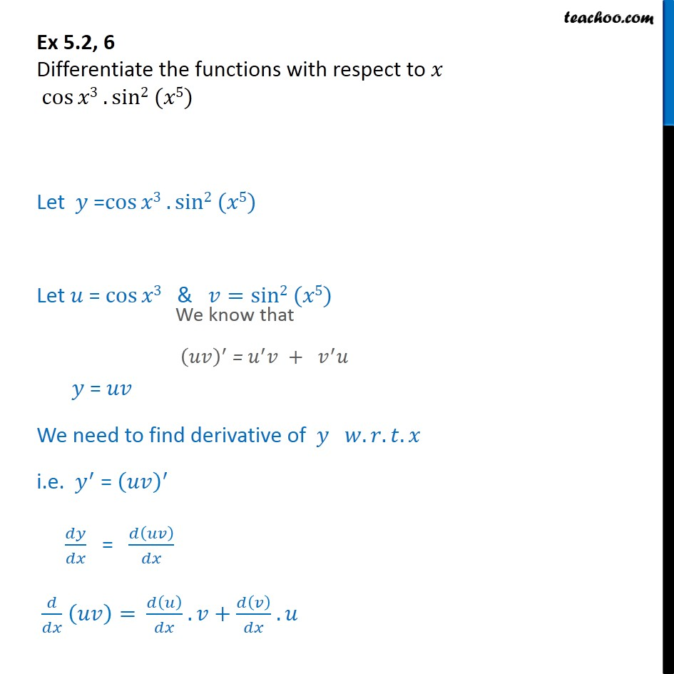 Ex 5.2, 6 - Differentiate cos x3 sin2 (x5) - Chapter 5 CBSE - Finding derivative of a function by chain rule