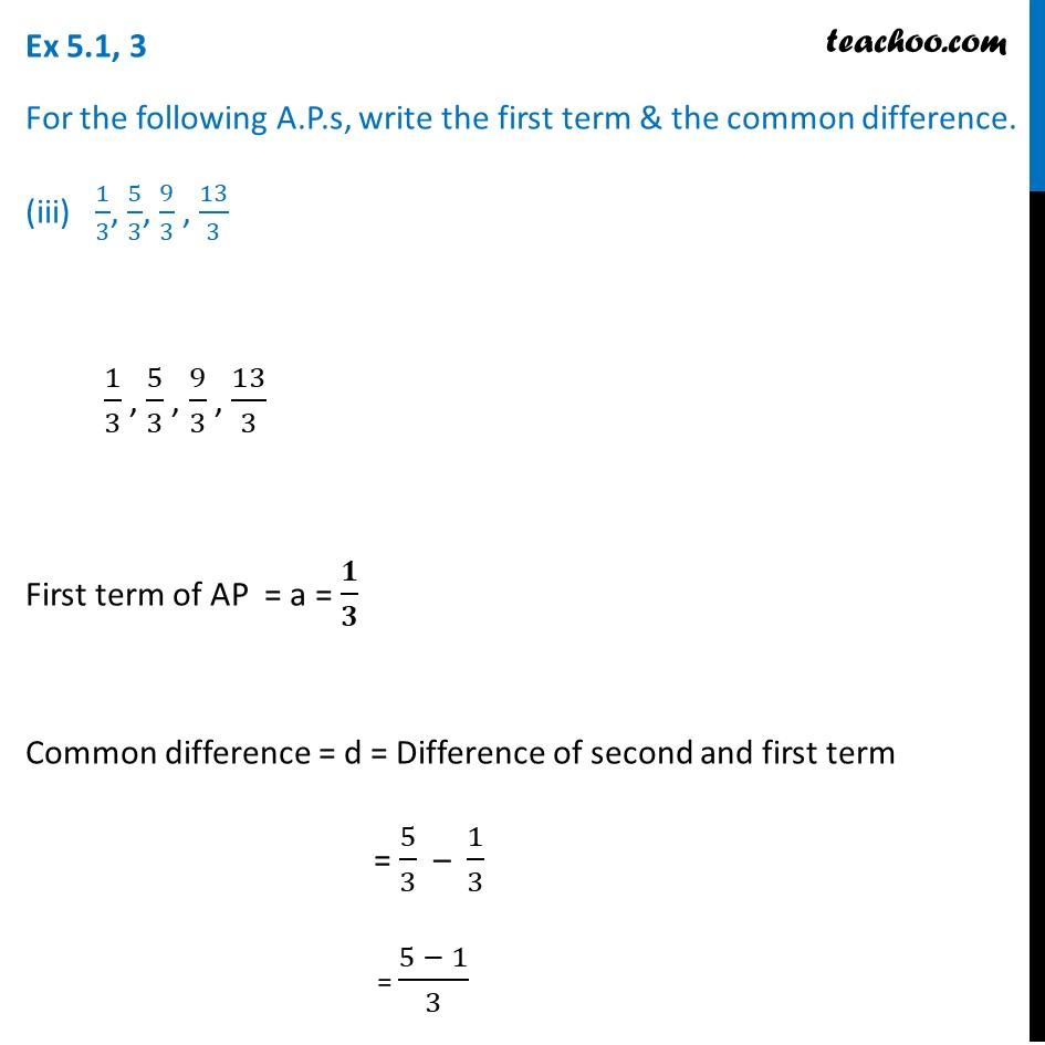 Ex 5.1, 3 - Chapter 5 Class 10 Arithmetic Progressions - Part 3
