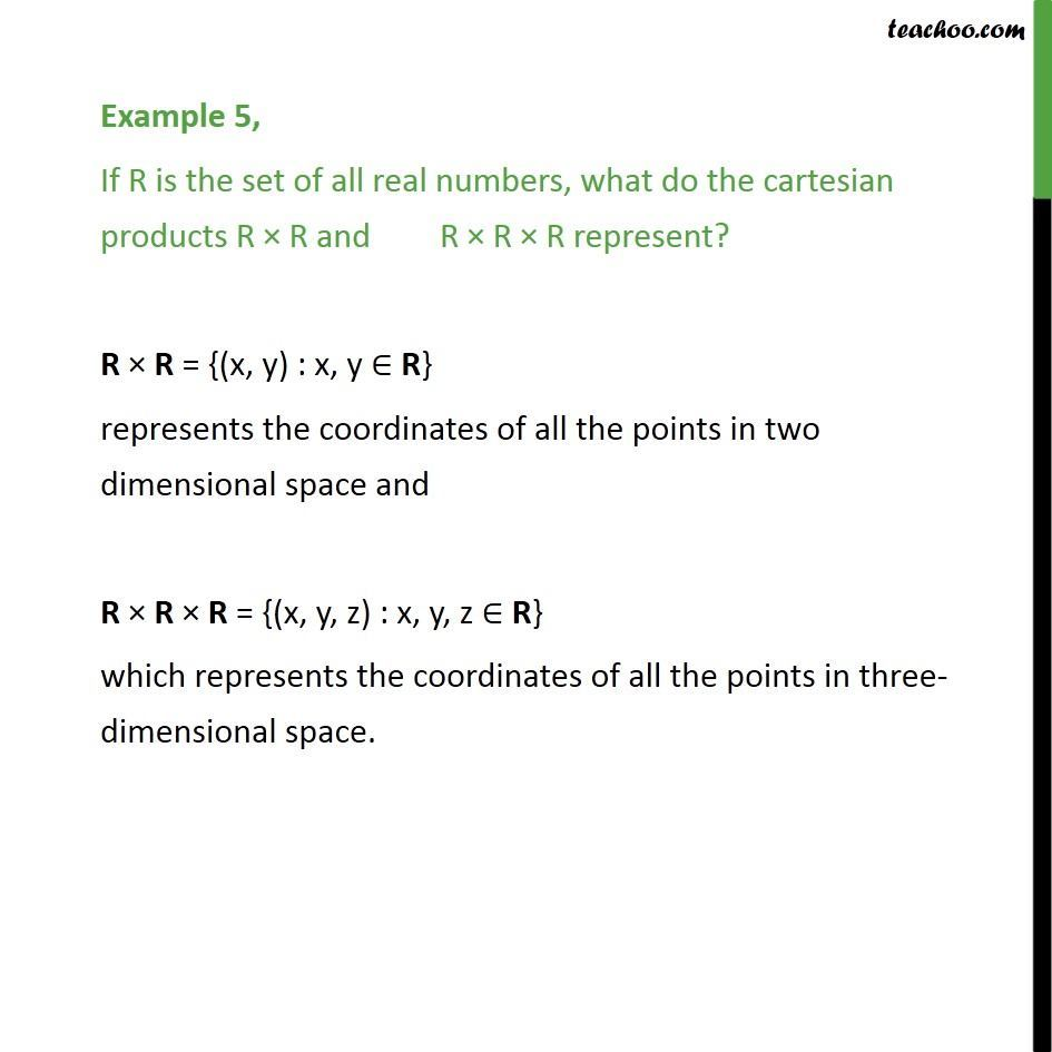 Example 5 - If R is set of real numbers, what do R x R represent - Examples