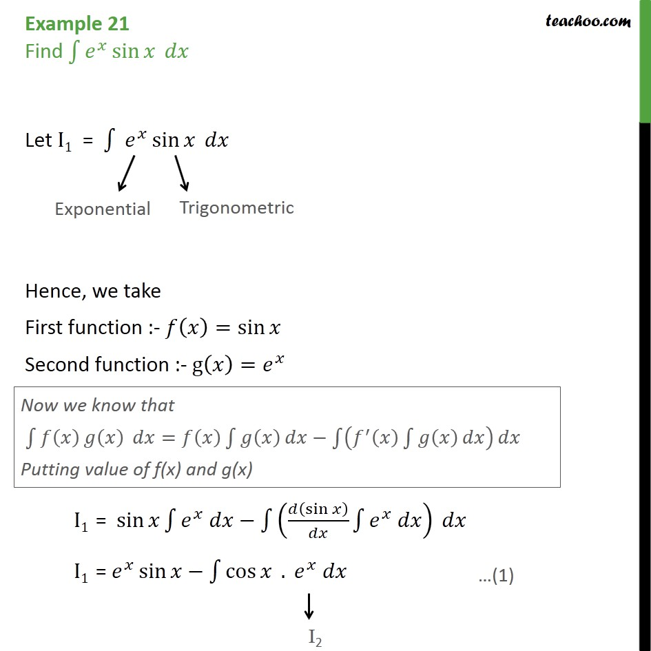 Example 21 - Find integral ex sin x dx - Class 12 NCERT - Integration by parts