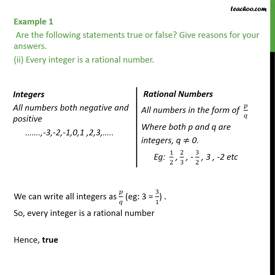 Example 1 Are The Following Statements True Or False Examples