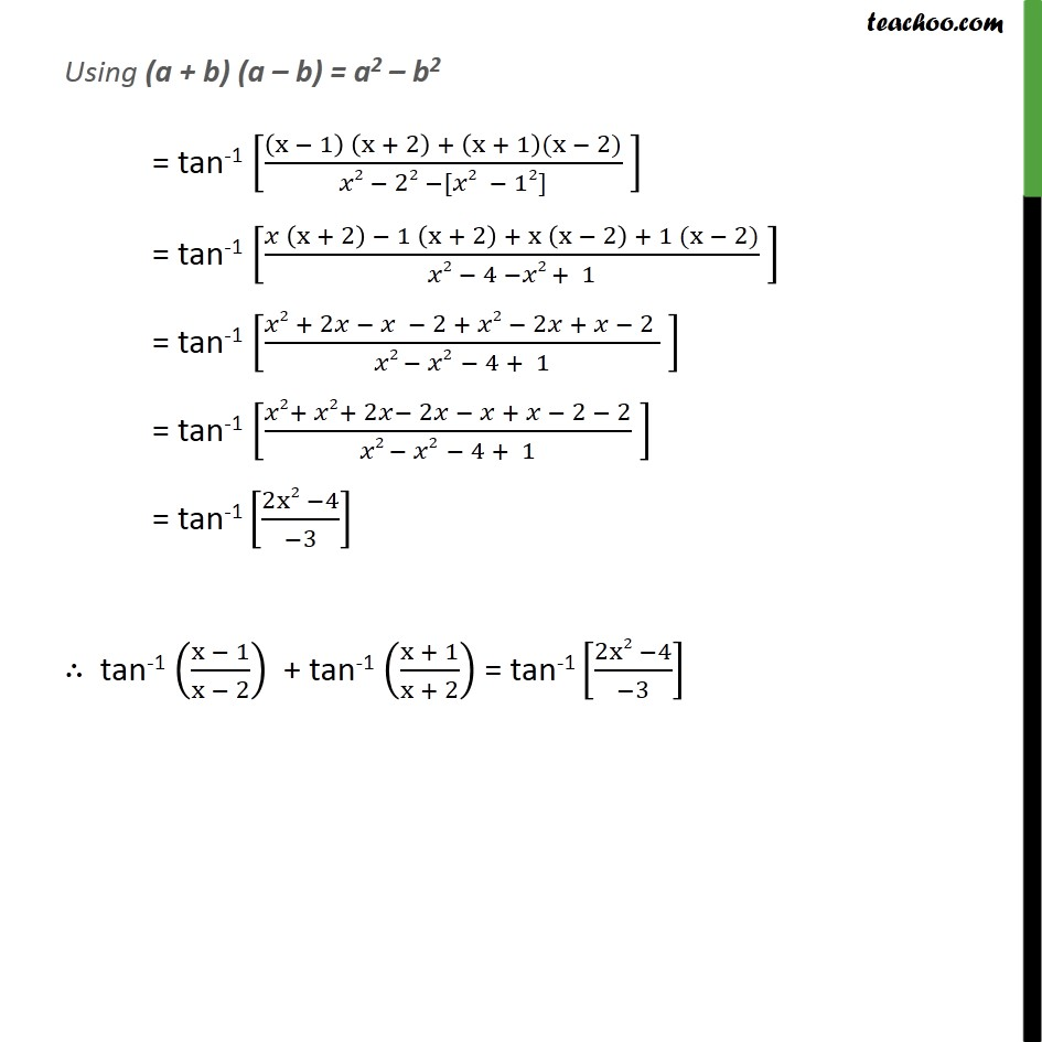 Ex 22 15 If Tan 1 X 1x 2 Tan 1 X1x2 Pi4