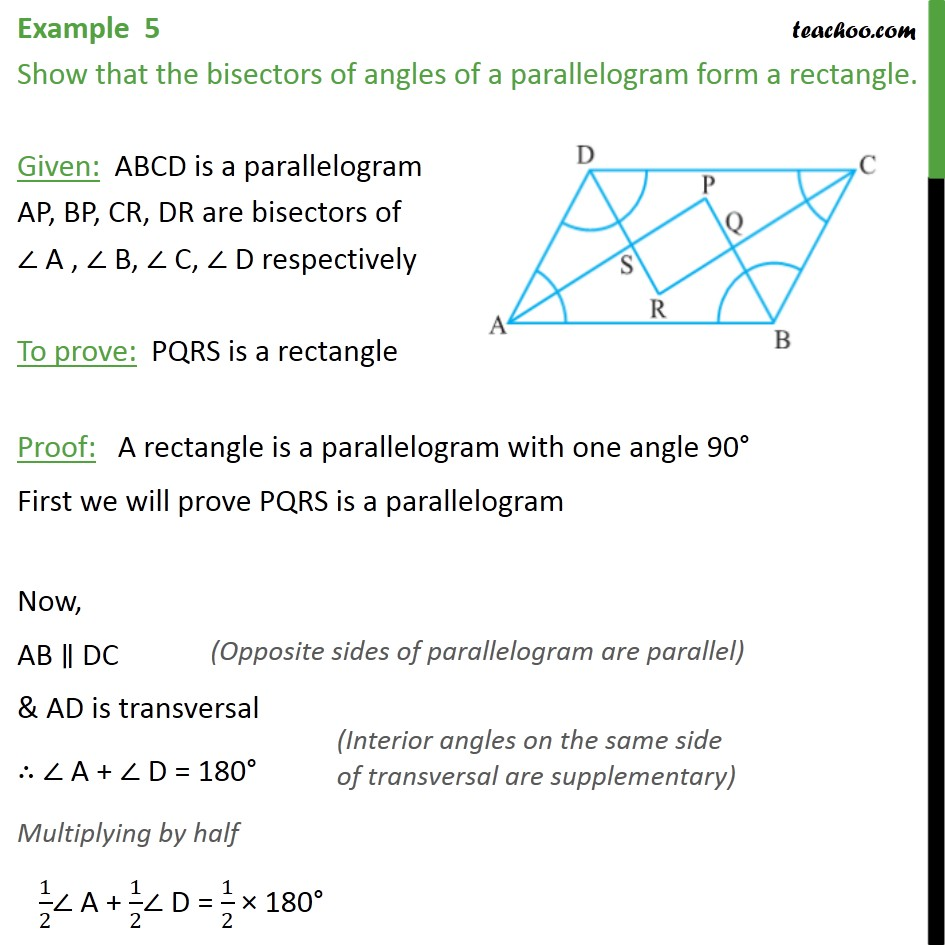 Example 5 - Show that bisectors of angles of parallelogram - Opposite angles of parallelogram
