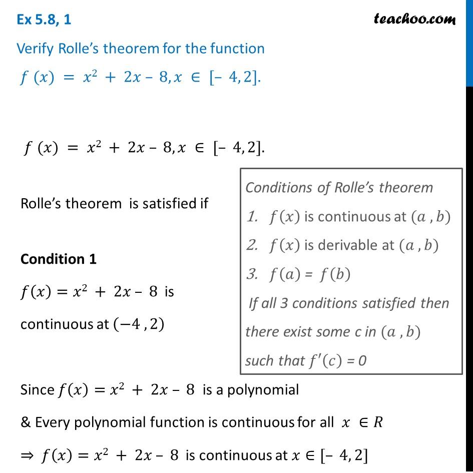 Ex 5.8, 1 - Verify Rolle's theorem for f(x) = x2 + 2x - 8