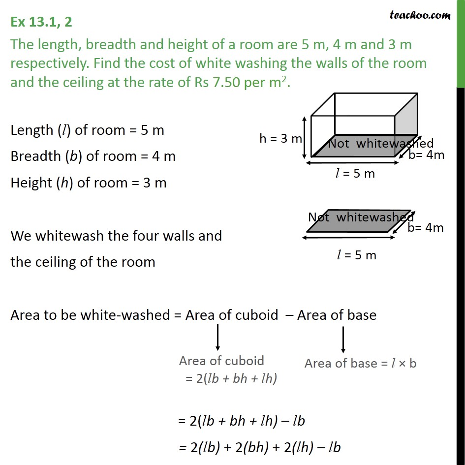 Ex 13.1, 2 - The length, breadth and height of a room are - Ex 13.1
