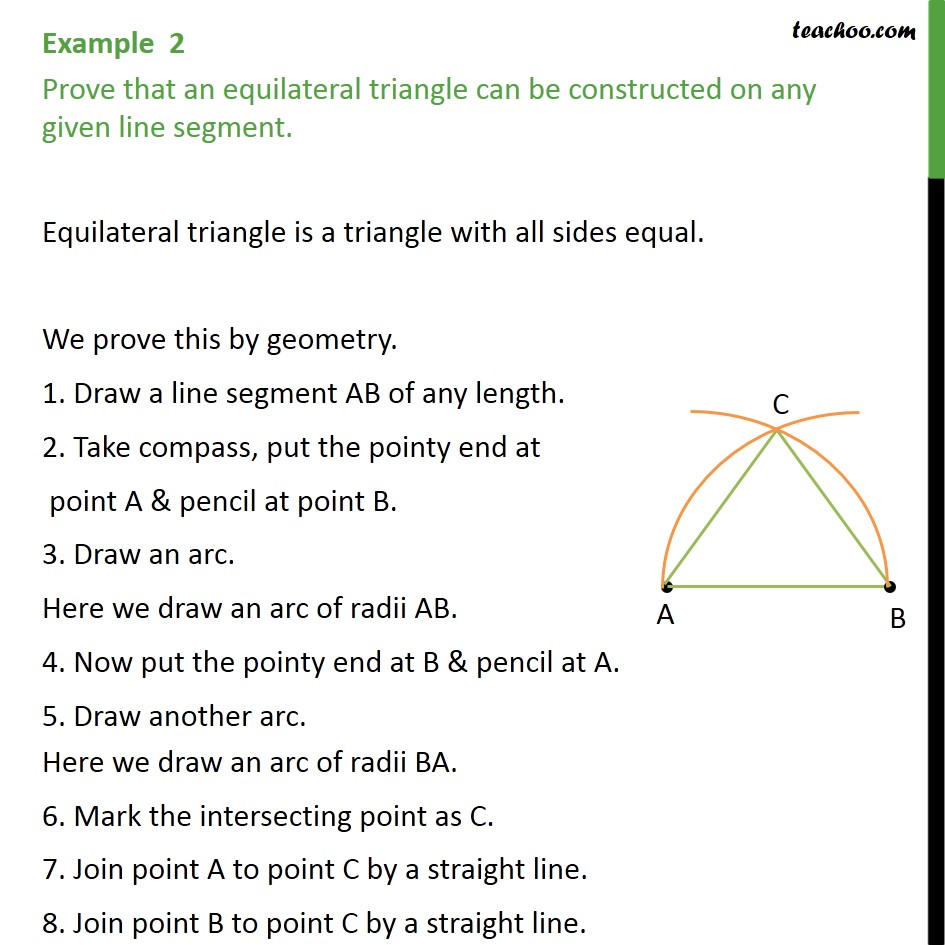 Example 2 - Prove that an equilateral triangle can be - Examples