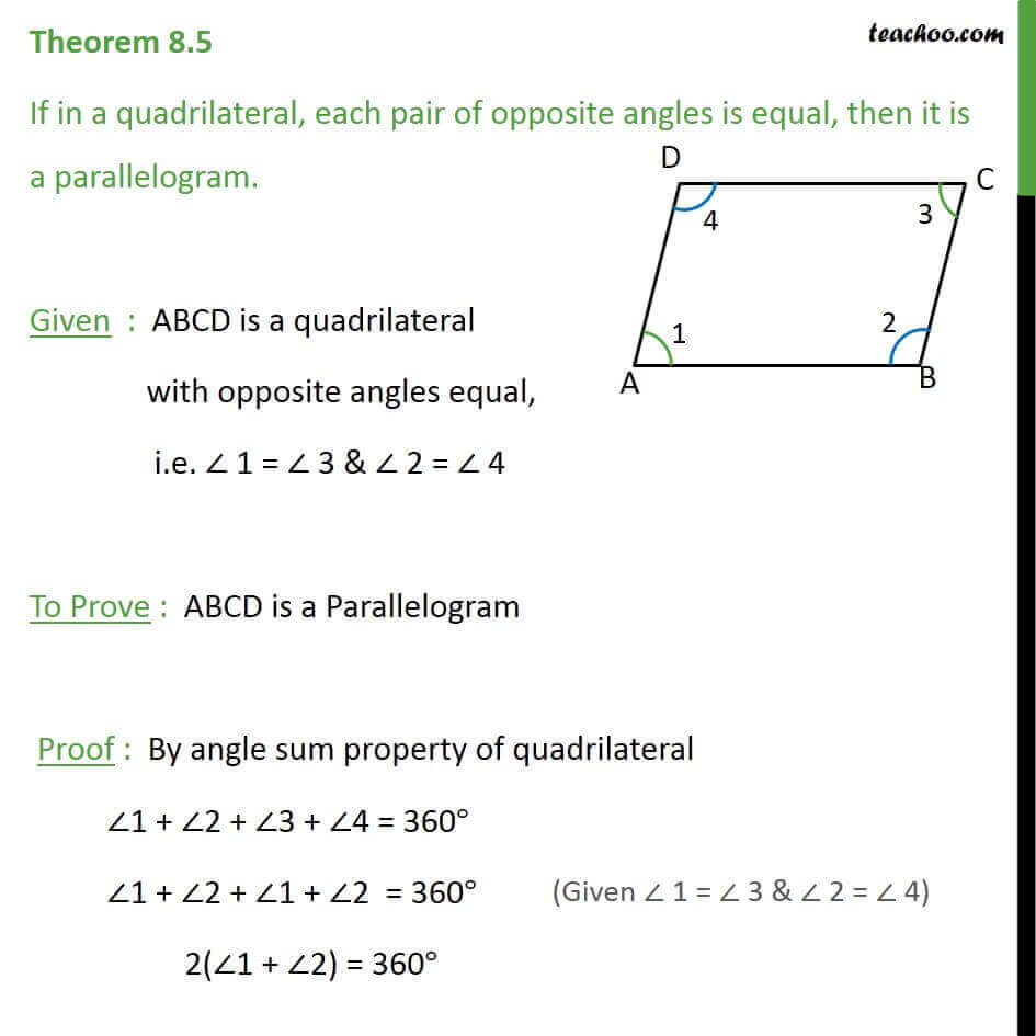 Theorem 8.5 - Class 9 - If both pair of opposite angles are equal.jpg