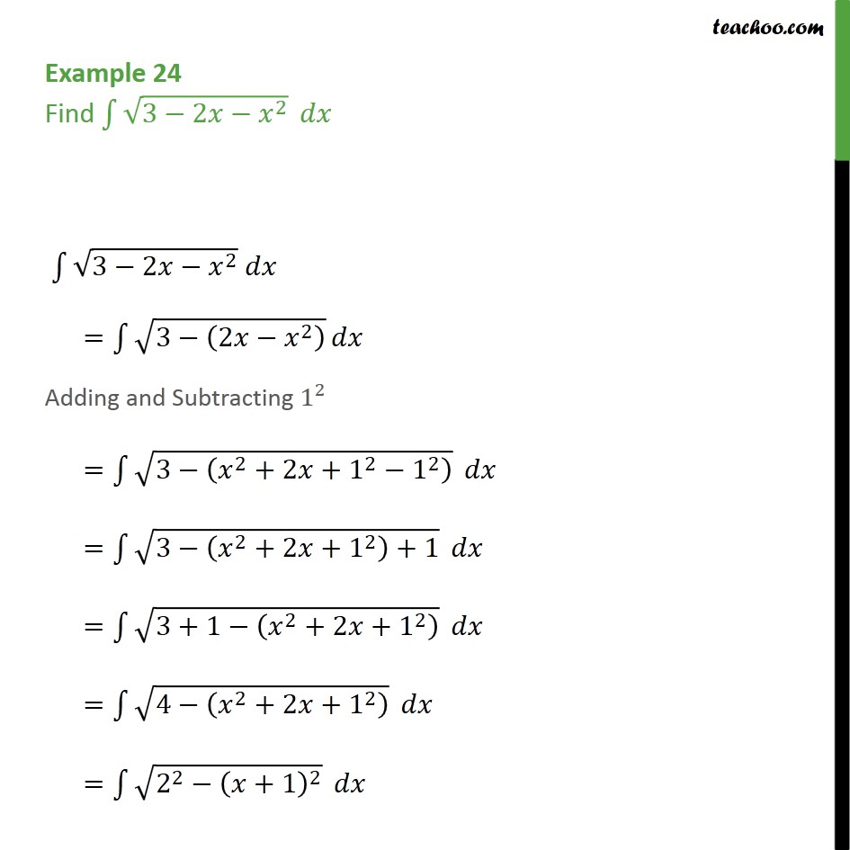 Example 24 - Find integral root 3 - 2x - x2 dx - Examples