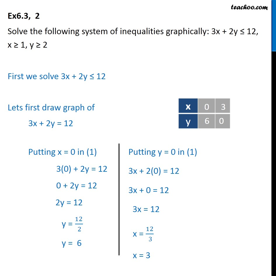 Ex 6.3, 2 - Solve 3x + 2y <= 12, x >= 1, y >= 2 graphically - Graph - 2 or more Equation